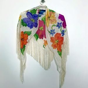 Floral 100% Silk Fringed Crochet Wrap Cream #2822